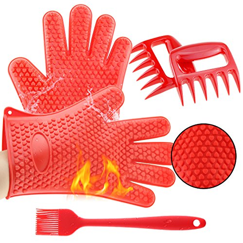 3 x No.1 Set Silicone BBQ Cooking Grill Gloves, 2 Grill Meat Shredders,1 Grill Silicone Brush, Superior Value Premium Set for Cooking Grilling Baking and Barbecue