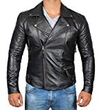Frisco Black Leather Jacket Men - Genuine Biker Asymmetrical Mens Leather Jacket (chamarras de Hombre) | XS