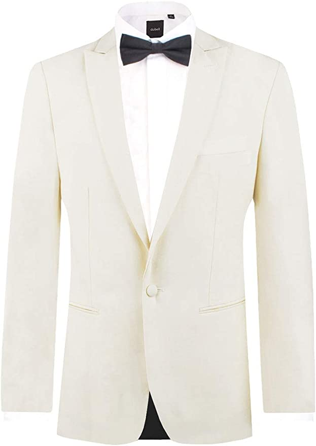 1940s UK and Europe Men's Clothing – WW2, Swing Dance, Goodwin Dobell Mens White Tuxedo Dinner Jacket Slim Fit Peak Lapel £49.99 AT vintagedancer.com