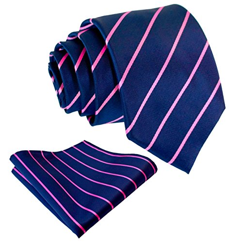 Pencil Stripe Ties for Men - Woven Necktie & Pocket Square - Navy Blue w/Pink]()