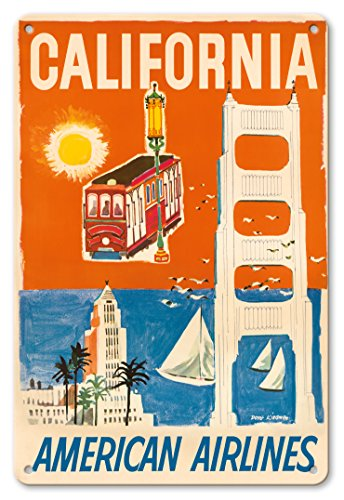 Pacifica Island Art 8in x 12in Vintage Tin Sign - California - San Francisco Cable Car, Golden Gate Bridge - American Airlines by Dong Kingman