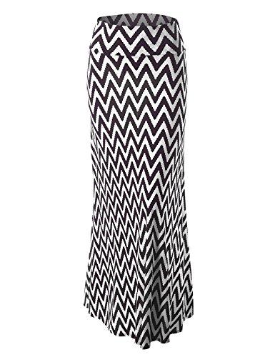 LL Womens Chevron Print Maxi Skirt XXL CHEV_Black