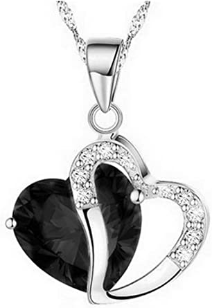 Womens Heart Rhinestone Fine Silver Love Snowflake Pendant Necklace Charm Chain