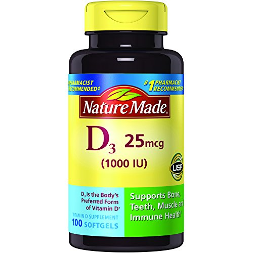 100 Chewable Softgels (Nature Made Vitamin D3 1000 IU Softgels 100 Ct (Packaging may vary))
