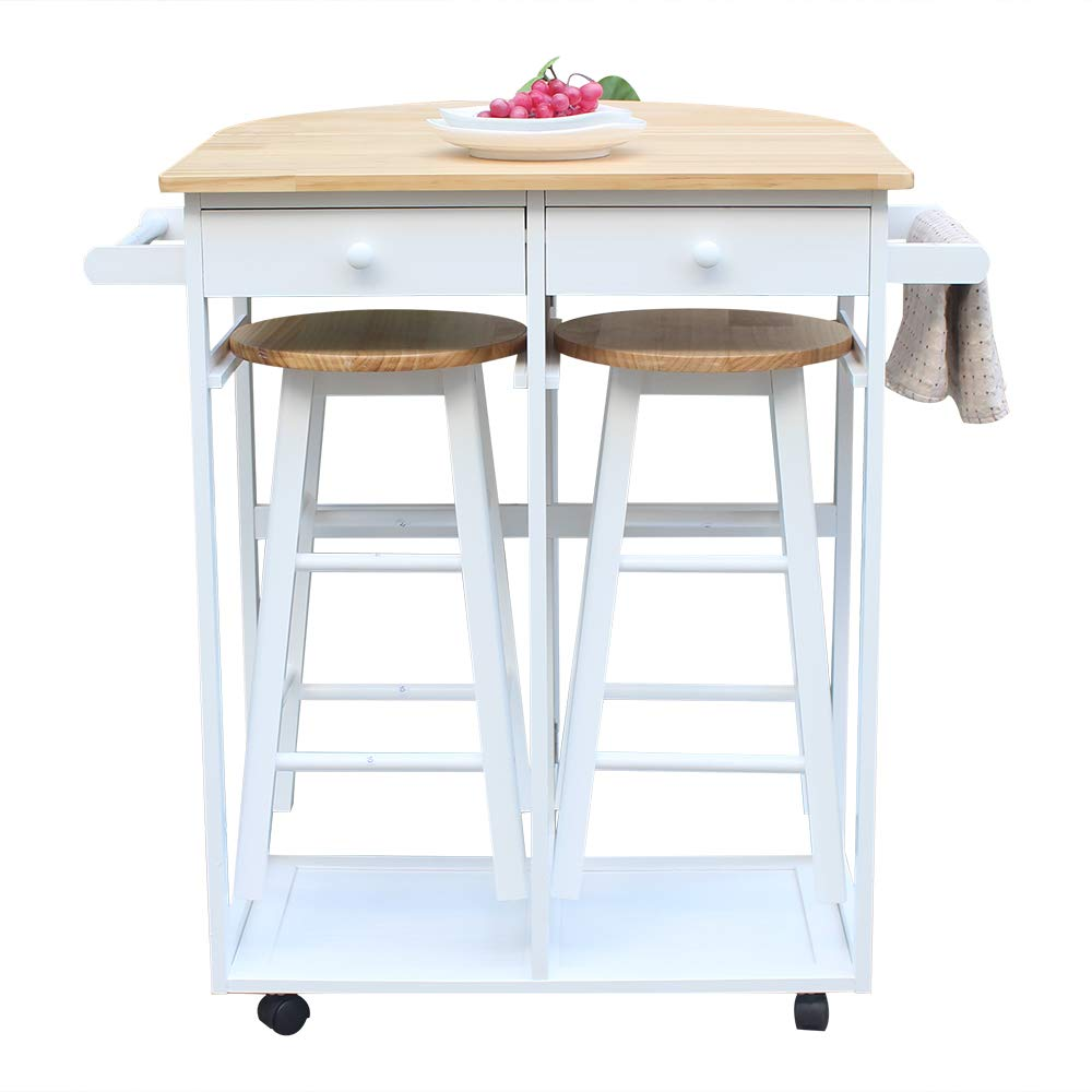 Kitchen Island Trolley Cart,3-Piece Foldable Drop Leaf Breakfast Cart Kitchen Rolling Casters Dining Table Set Space Saving Kitchen Table On Wheels with 2 Stools,2 Drawers & Handle Soliwood White