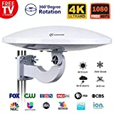 ANTOP Omni-Directional Outdoor Amplified HD TV Antenna UFO 65 Miles Long Range with Built-in Amplifier Signal Booster and 4G LTE Filter,Support 4K 1080p Channels & All Older TV's for Outdoor