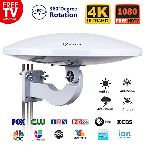 ANTOP Omni-Directional Outdoor Amplified HD TV Antenna UFO 65 Miles Long Range with Built-in Amplifier Signal Booster and 4G LTE Filter,Support 4K 1080p Channels & All Older TV