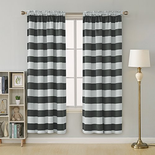 Deconovo Gray Striped Room Darkening Window Curtains Thermal Insulated Grey and Greyish White Striped Curtains for Bedroom 52W X 84L Gray 2 Panels (White & Curtains Grey)