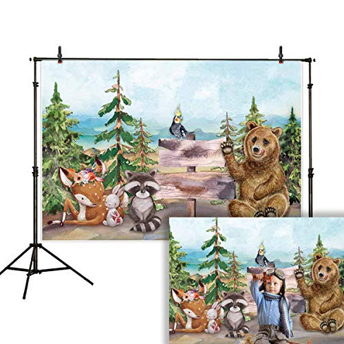 Allenjoy 7x5ft Spring Backdrop Photo Studio Woodland Jungle Party Watercolor Bear Civet cat sika Deer Animal Background Birthday Background ()