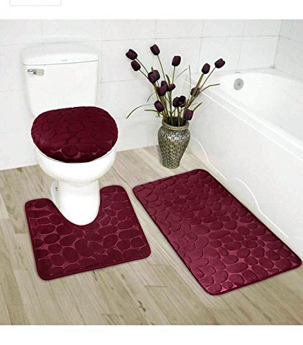 Elegant Home 3 Piece Solid Color Rock Embossed Memory Foam Bathroom Rug Set Bath Rug, Contour Mat, Lid Cover Non-Slip with Rubber Backing # New Rock (Burgundy)