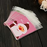 50pcs Santa Claus Candy Cookie Food Bags Christmas Gift Packaging Bag