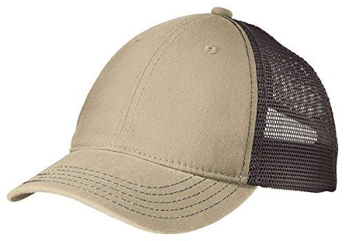 District Super Soft Mesh Back Cap. DT630 Khaki/ Chocolate Brown OSFA