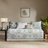 6 Piece Blue White Medallion Daybed Set Bedding, Geometric Floral Motif Circle Shabby Chic Flower Cottage French Country Pattern Day Bed Bedskirt Pillows, Polyester