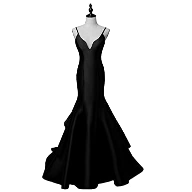 DRESS New Arrival Sexy Evening Party Dresses Satin Long GownSpaghetti V-Neck Sweep Train Black