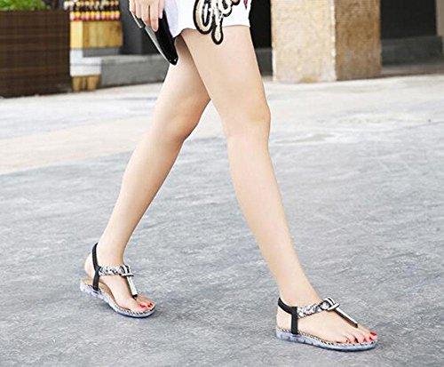 Sandalias rhinestone bohemio planos 11 zapatos gran femeninos KUKI de tamaño P1qxwqdF