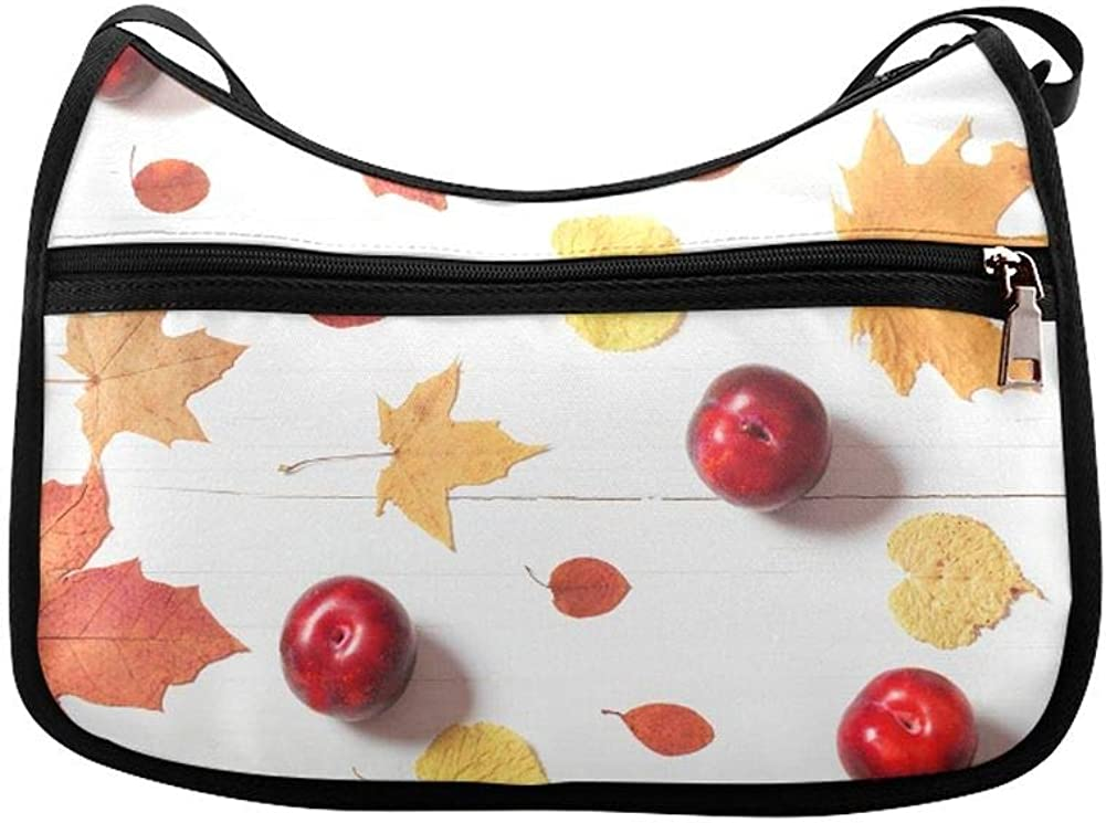 Red Apples And Passion Flowers Messenger Bag Crossbody Bag Large Durable Shoulder School Or Business Bag Oxford Fabric For Mens Womens