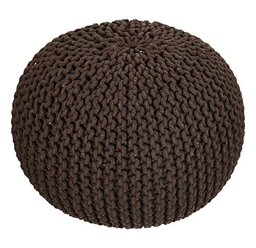 AZK Hand Knitted Cable Style Dori Pouf - Floor Ottoman - 100% Cotton Braid Cord - Handmade & Hand Stitched - Truly one of a Kind Seating 18 x 18 x 13