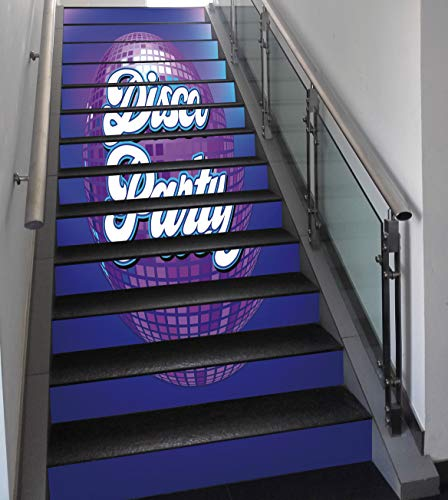 Stair Stickers Wall Stickers,13 PCS Self-adhesive,70s Party Decorations,Retro Lettering on Disco Ball Night Club Theme Dance and Music Decorative,Purple Blue White,Stair Riser Decal for Living Room, -