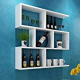 Walled Shelf Modern Simple Restaurant Shelf Decorative Red Wine Rack Set Lattice Storage Tower ( Color : White , Size : 8020cm )