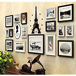 Mbd 16pcs/Set Large Multi Picture Wooden European Retro Photo Frames Eiffel Tower Wall Clock Acrylic Portrait Wall Sticker Solid Wood Photo Frame Collage (Color : B)
