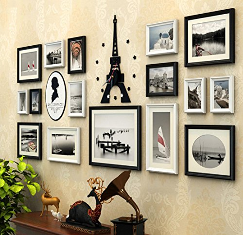 LF frame 16pcs/Set Large Multi Picture Wooden European Retro Photo Frames Eiffel Tower Wall Clock Acrylic Portrait Wall Sticker Solid Wood Photo Frame Collage (Color : B)