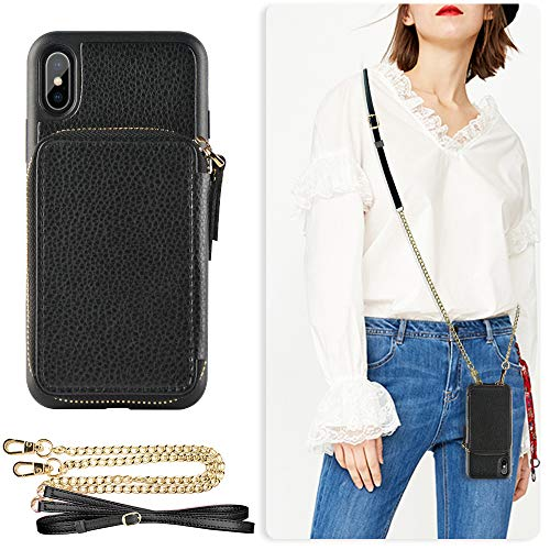 - iPhone Xs Max Wallet Case, ZVE iPhone Xs Max Case with Credit Card Holder Slot Crossbody Chain Handbag Purse Wrist Zipper Strap Case Cover for Apple iPhone Xs Max 6.5 inch - Black