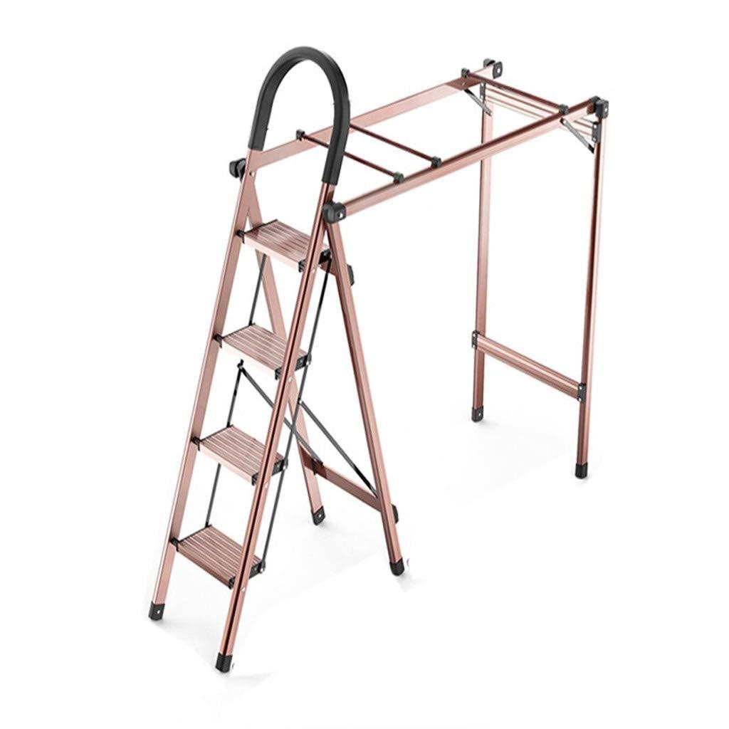 多機能はしご乾燥ラック、家庭用折りたたみデュアルパーパスアルミ合金4ステップラダー床服キルト屋内乾燥ラック、片側1M乾燥スペース B07MJKMB8B