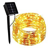 Solar Outdoor String Lights, Copper Wire String Lights 200LEDs 8 Modes 66ft Waterproof Outdoor Starry String Lights for Outdoor Landscape Garden Christmas Trees