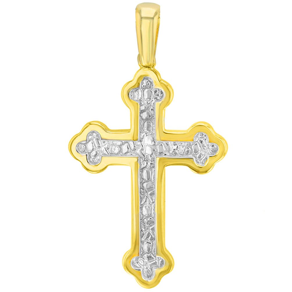 14K Yellow Gold Elegant Eastern Orthodox Cross Pendant Necklace