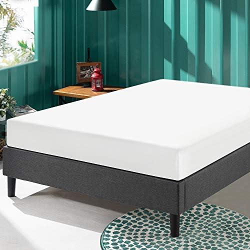 ZINUS Curtis Upholstered Platform Bed Frame / Mattress Foundation / Wood Slat Support / No Box Spring Needed / Easy Assembly, Grey, Full 51k 2BCTRlFeL