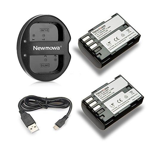 Newmowa D-Li90 Battery (2-Pack) and Dual USB Charger for Pentax D-LI90 and Pentax 645D, 645Z, K-01, k-1,K-3, K-5, K-5 II, K-5 IIs, K-7 by Newmowa