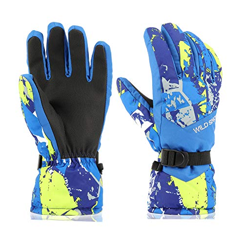 Ski Gloves,RunRRIn Winter Warmest Waterproof and Breathable Snow Gloves for Mens,Womens,ladies and Kids Skiing,Snowboarding(Blue-Yellow-XL)