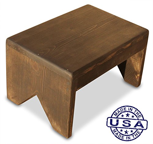 S.B. Handmade - Solid Wood Ebony Stained Step Stool, 250 Pound Capacity, Hand Made in U.S.A. (14