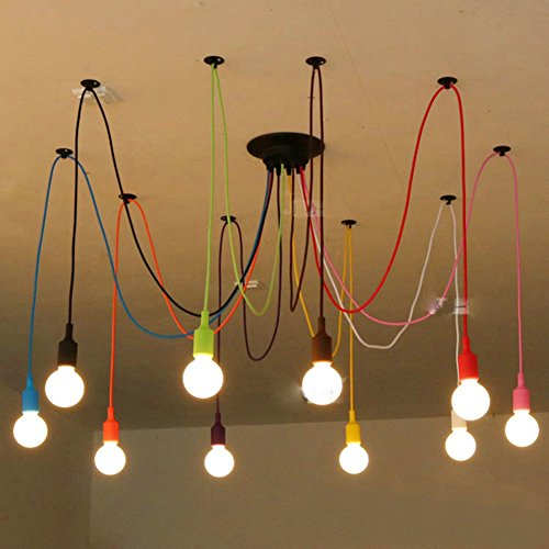 Fuloon Vintage Edison Multiple Ajustable DIY Ceiling Spider Lamp Light Pendant Lighting Chandelier Modern Chic Industrial Dining (10 head cable 120cm/47.2inch each(Colorful))