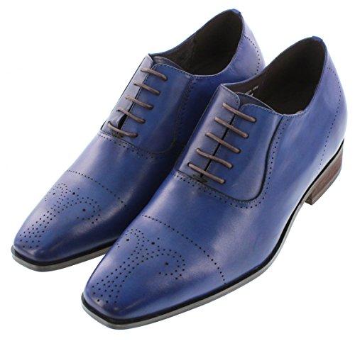 calto-g6521-7,6cm Grande Taille-Hauteur Augmenter Chaussures ascenseur (Bleu à lacets en Simili Cuir Semelle)