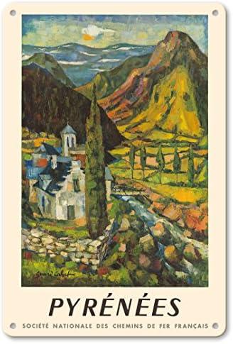 Pacifica Island Art Pirineos (Pirineos) Montañas – Francia – España – Vintage Railroad Travel Poster por Gerard Cabet c.1962 – Fine Art Print: Amazon.es: Hogar