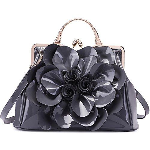 Miss Lulu - Bolso para Mujer Bolsa de piel sintética Bolso de mano de hombro de moda (Borgoña) Gris