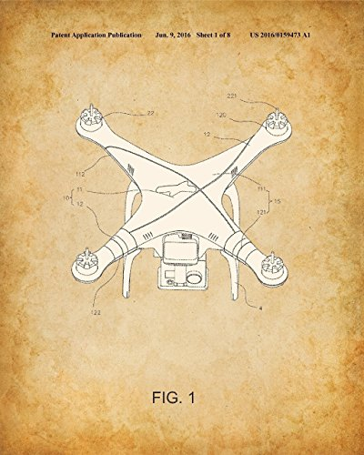 Original DJI Quadcopter Drone Patent Art Prints – Set of Four Photos (8×10) Unframed