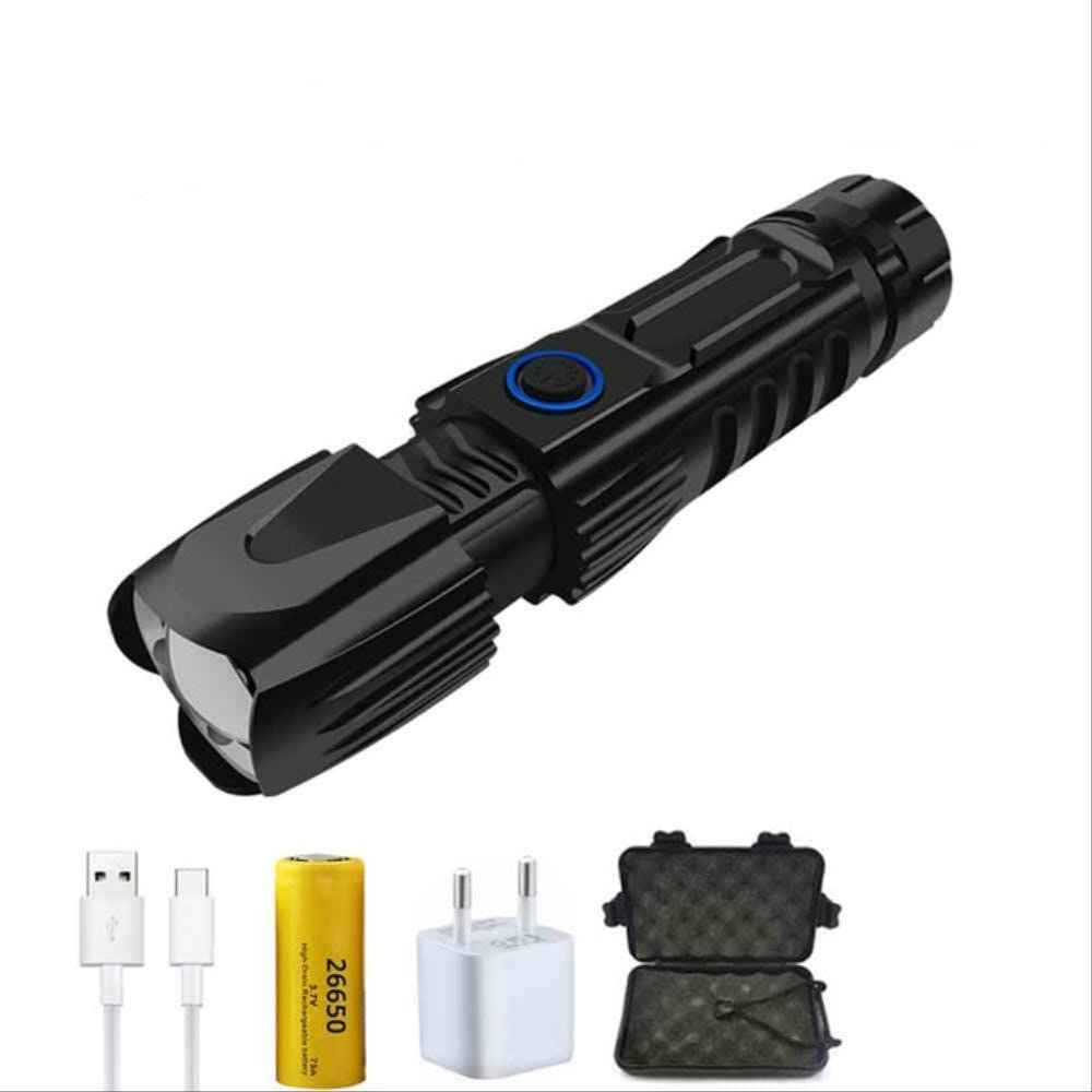 BAJIE Flashlight Super Bright Xhp90 Led Flashlight With Usb Input And Output Function 5 Modes Glare Tactical Torch Waterproof Zoom Outdoor Light Package C
