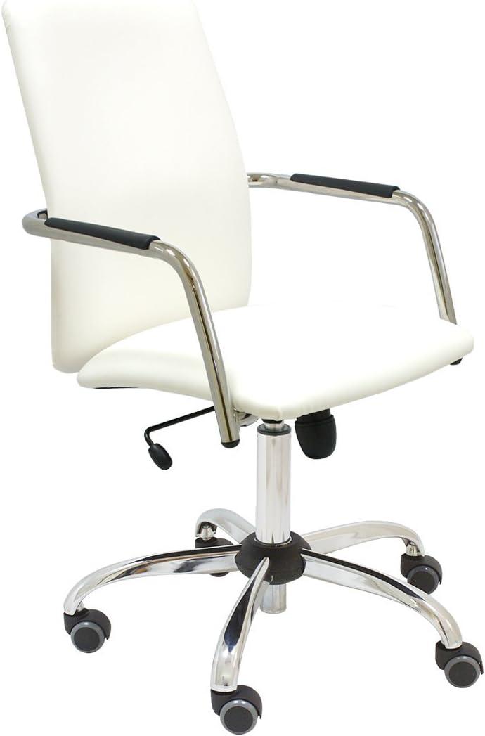 Sillón de dirección Magix para despacho ejecutivo y oficina con brazos, respaldo alto y mecanismo basculante, tapizado polipiel blanca, base cromada y ruedas de parquet