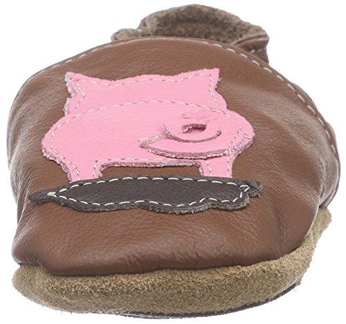 HOBEA-Germany Lauflernschuhe Schwein - Pantuflas para bebés Marrón (Marrón)