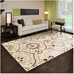 Superior Designer Augusta Collection Area Rug, 8mm Pile Height with Jute Backing, Beautiful Floral Scalloped Pattern, Anti-Static, Water-Repellent Rugs - Beige, 4' x 6' Rug