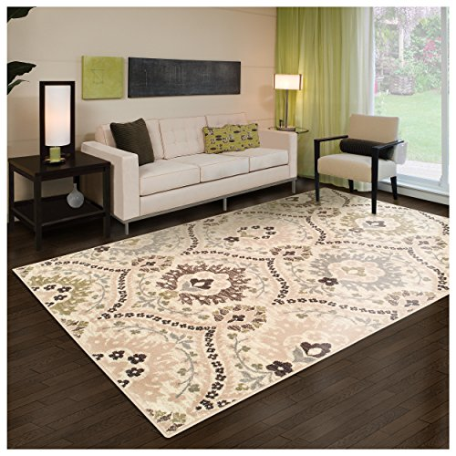 Superior Designer Augusta Collection Area Rug, 8mm Pile Height with Jute Backing, Beautiful Floral Scalloped Pattern, Anti-Static, Water-Repellent Rugs - Beige, 8' x 10' Rug (Floral Area Rugs)