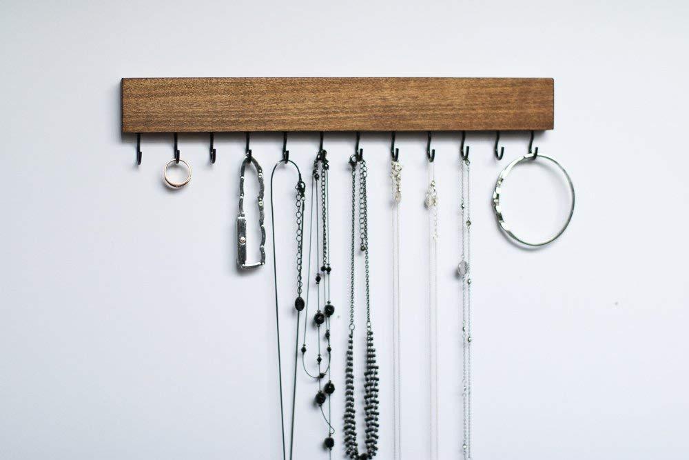 Dark Walnut Wood Wall Mount Jewelry Organizer/Necklace Handmade Holder Hooks Key Holder Hanging Stand Rustic Decor/Best gift idea / 12 black hooks on bottom