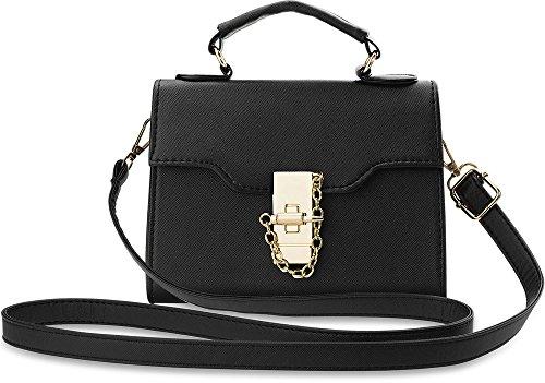 wunderschöne kleine Damentasche Bowlingbag mit Goldanhänger schwarz
