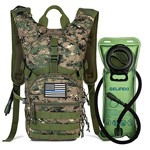 Gelindo Military Tactical Hydration Backpack with 2L Water Bladder Light Weight, MOLLE Tactical Assault Pack for Hiking Biking Running Walking Climbing Outdoor Travel(ACU-Green)