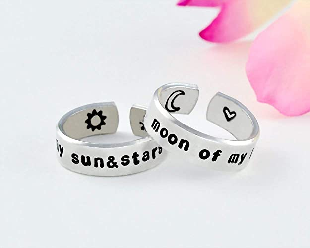 eda654c4cd My Sun And Stars, Moon Of My Life - Hand Stamped Aluminum Cuff Ring Set of  2,Game of Thrones Inspired, Khal Drogo, Daenarys, Long Distance Relationship,  ...