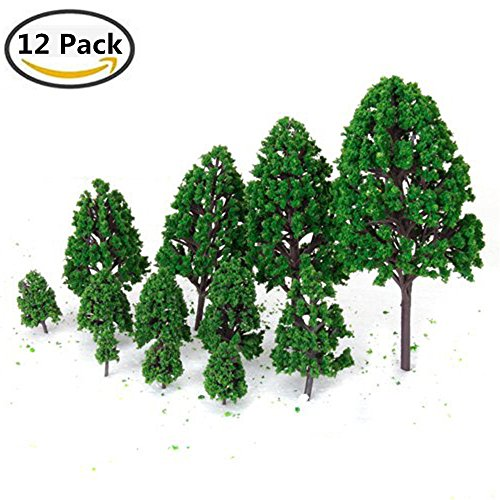 Dikley Model Trees Miniature Artificial Miniature Frosted Poplar for Architecture Landscape Scenery Decor Moss Bonsai Micro Landscape DIY Craft Garden Ornament Trains Railways Trees(12 Pack)