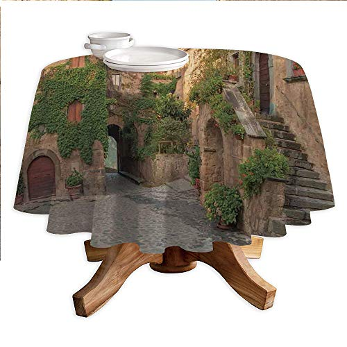 (Tuscan Round Polyester Tablecloth,Village Houses with Colorful Flowers Outside in Burano Village Venice Italy Image,Dining Room Kitchen Round Table Cover,36