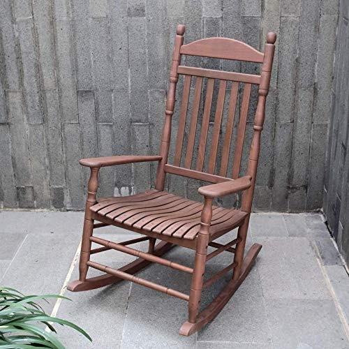 GHY Country Rocking Chair Solid Mahogany Bentwood Front Porch Medium Brown Vintage Wide Arms Contoured Seat High Back Relax Comfortable & eBook by JEFSHOP ()